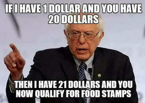 bernie sanders if i have 1 dollar you have 20 now have 21 and you qualify for food stamps