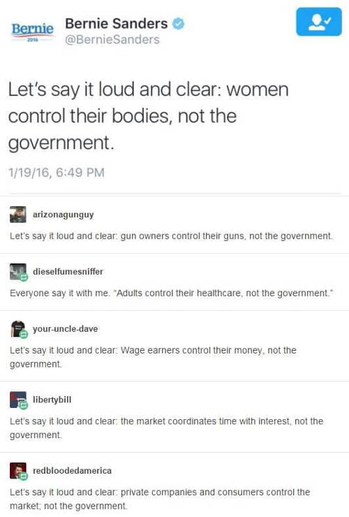 bernie sanders tweet women control own body not government same with guns health care free market