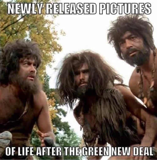 cavemen newly released pictures of future after green new deal ocasio cortez