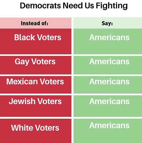 democrats need us fighting black gay mexican white voters say americans instead