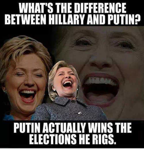 difference between putin and hillary clinton putin wins his rigged elections