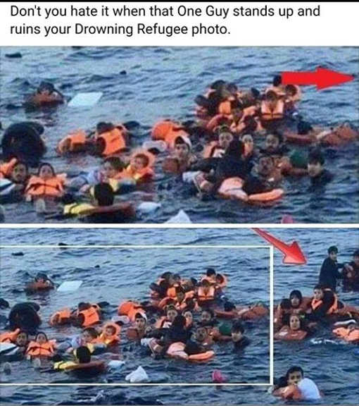 dont you hate it when one guy stands up and ruins your drowning photo fake news