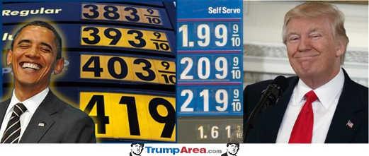 gas prices compared obama vs trump
