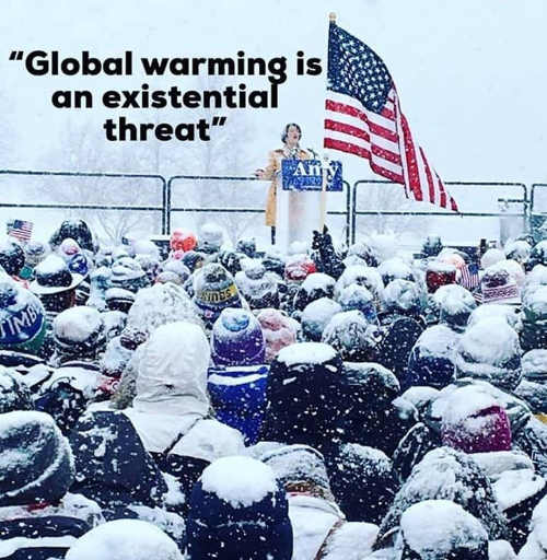 global warming is an existential threat democrat in snowstorm