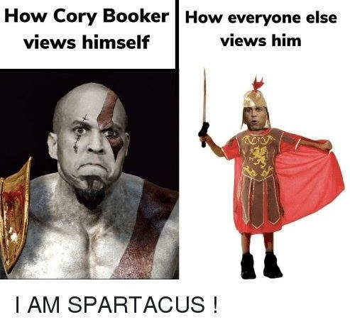 how cory booker views himself i am spartacus how everyone else does
