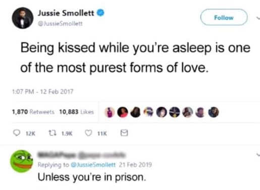 jussie smollett being kissed is purest form of love unless youre in prison