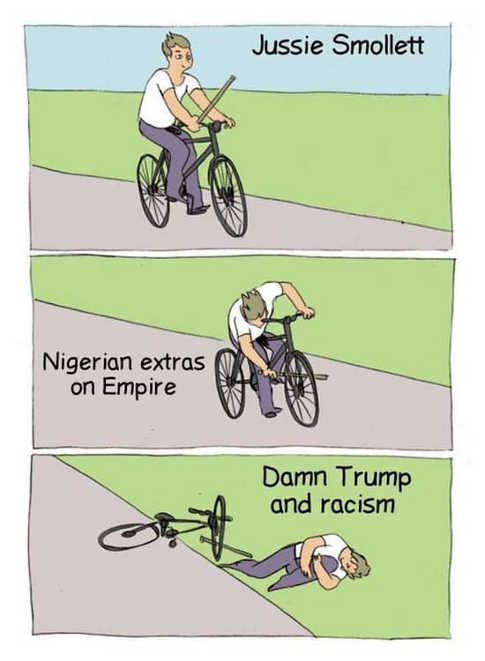 jussie smollett nigerian extras on empire damn trump and racism bike fall