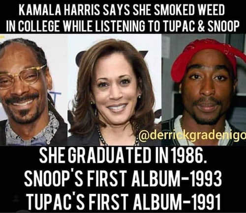 kamala harris smoked week listening to tupac and snoop didnt have any albums