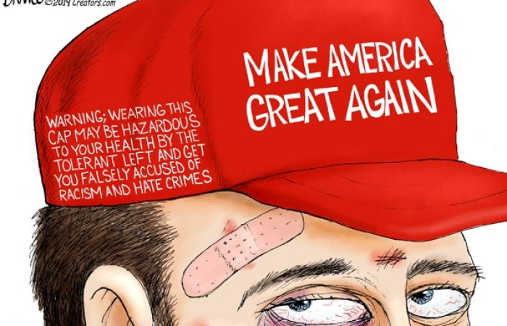 maga hat warning may lead to violence by tolerant left and falsely accused of hate crimes