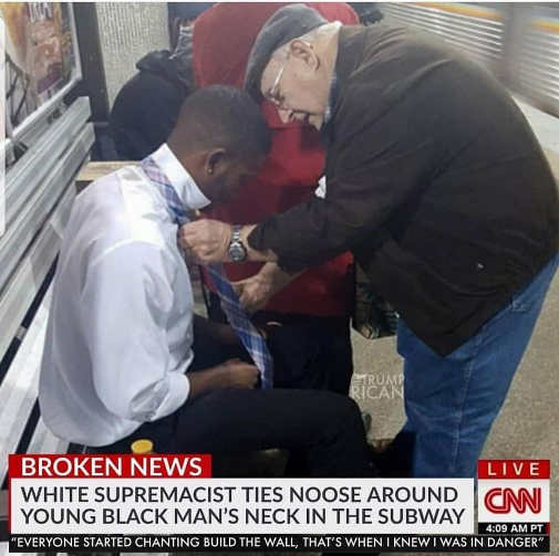 old man helping black guy with tie cnn white supremacist noose