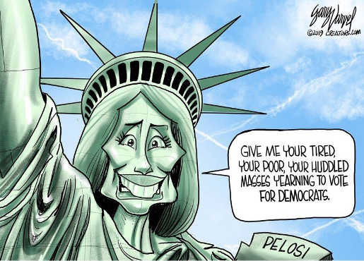 pelosi as statue of liberty giver me your tired poor yearning to vote democrat