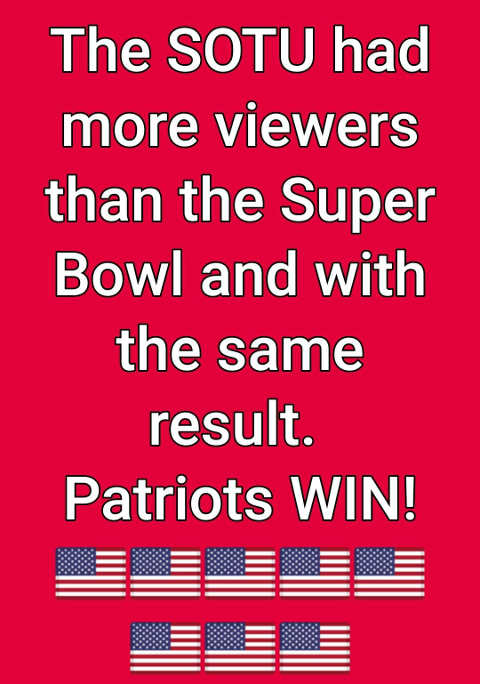 state of union more viewers than superbowl same result patriots win