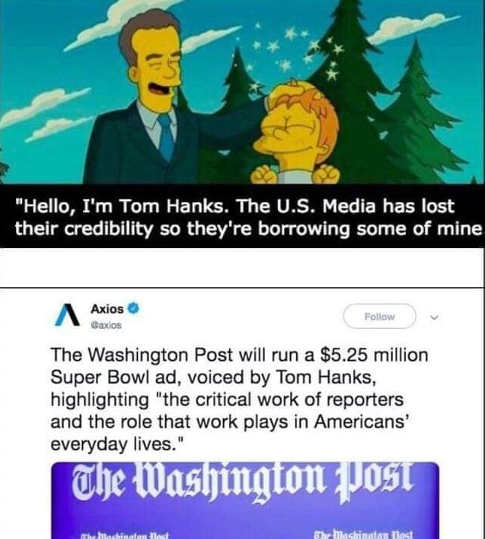 tom hanks us media has lost credibility borrow mine washington post runs ad for reporters superbowl
