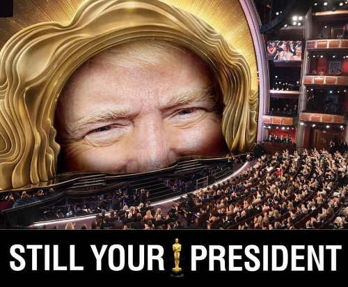 trump still your president hair at oscars stage