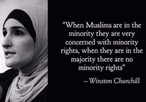 winston churchill when muslims in minority concerned with rights when in majority no rights