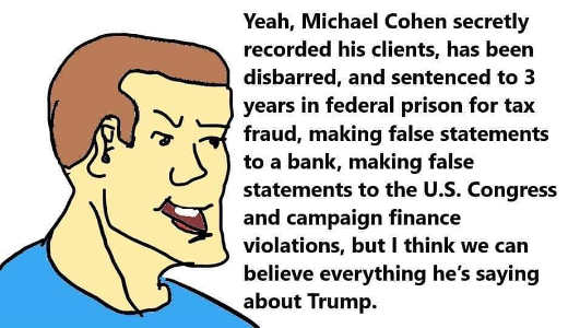 yeah cohen secretly recorded clients disbarred sentenced to prison but everything he says about trump is true