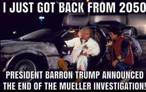 back to future just got back from 2050 president barron trump announced end to mueller investigation