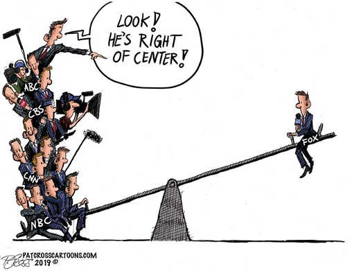 cbs nbc nyt msnbc abc look fox is right of center teeter totter