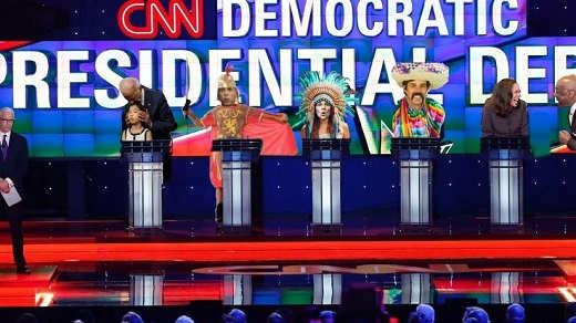 democratic debate stage warren booker kamala harris joe biden