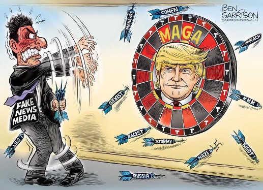 fake news media throwing darts trump maga stormy russia cohen racist