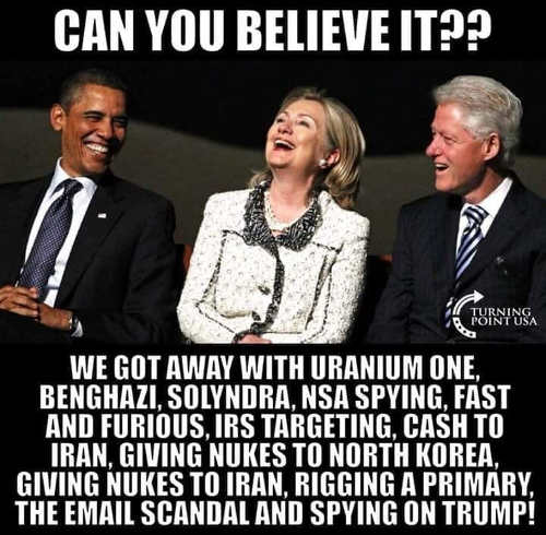 hillary obama clinton we got away with uranium one irs cash to iran benghazi other scandals