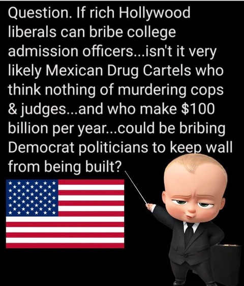 if rich hollywood liberals buy college admission why couldnt rich drug dealers buy democrat politicians no wall