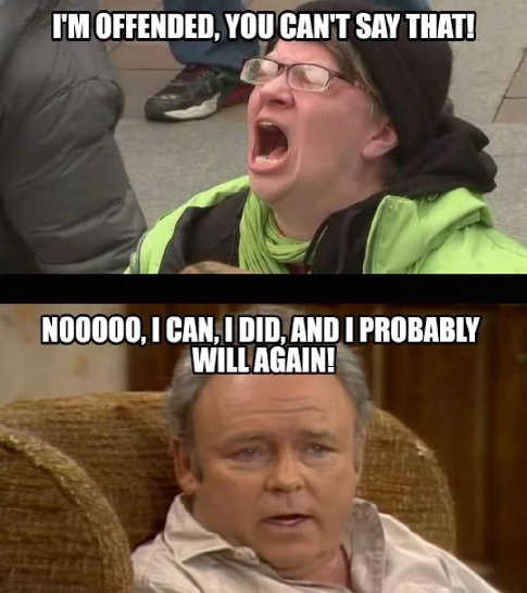 im offended you cant say that can did and will again archie bunker