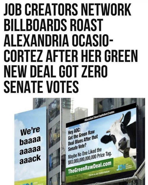 job creators network billboard ocasio cortez no votes green deal