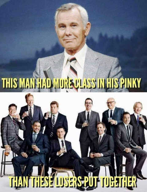 johnny carson more class in pinky than all late night loser comedians put together