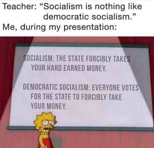 lisa simpson socialism nothing like democratic socialism government steals money voting for it