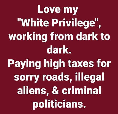love my white privilege working all day night to pay taxes support illegals