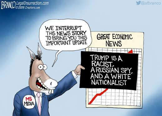 mainstream media interrupt great economic news trump is racist white nationalist