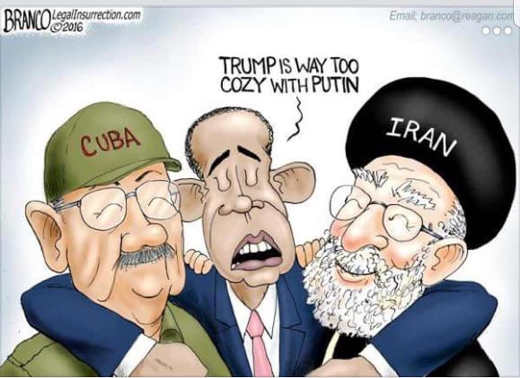 obama trump too cozy with putin hugging cuba iran leaders