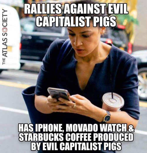 ocasio cortez rallies against capitalism has iphone starbucks movada watch