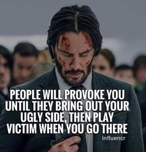 people provoke you to bring out ugly side then play victim john wick