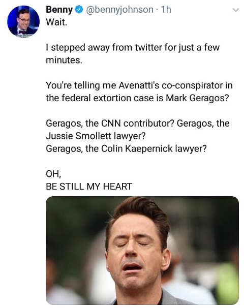 tweet avenatti mueller report cnn contributor indicted be still my heart