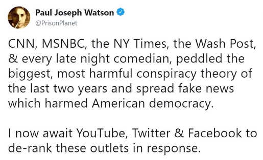 tweet cnn msnbc ny times post comedians lied when will youtube twitter facebook derank outlets