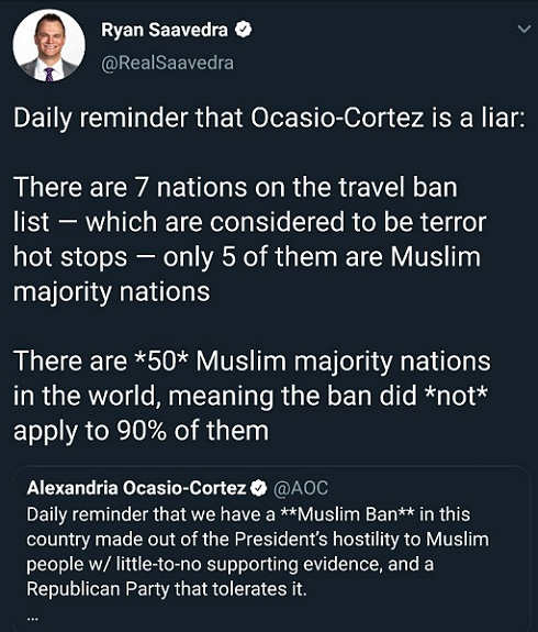tweet daily reminder ocasio cortez is liar ban muslim nations