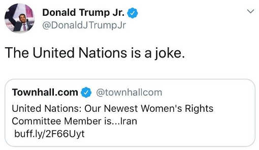 tweet donald trump united nations womens right welcomes iran