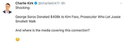 tweet george soros donated to smollett ag