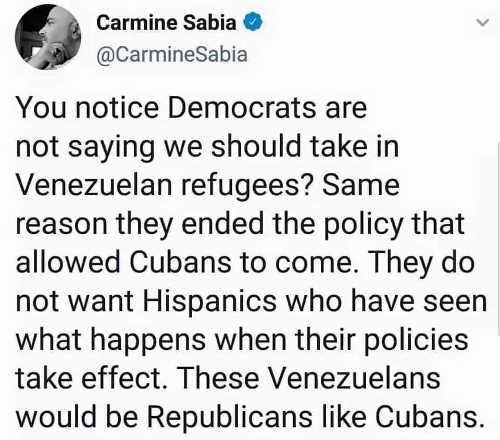 tweet notice democrats not taking in venezuela refugees like cuba know evil of socialism