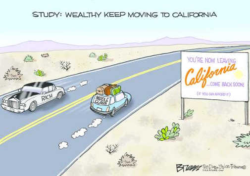 wealthy keep moving to california middle class driving out
