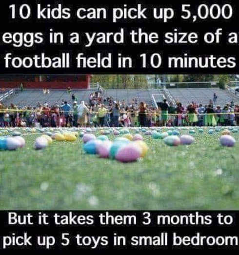 10 kids can pick up 5000 eggs in football field in 10 minutes 3 months to pick up 5 toys in bedroom
