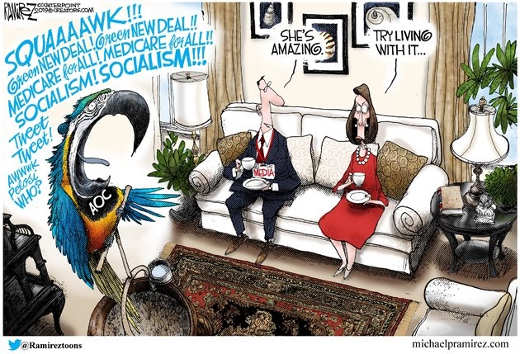 aoc parrot squawking media she is great pelosi try living with her
