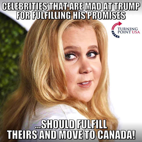 celebrities mad at trump for fulfilling promises maybe they should fulfill theirs move to canada