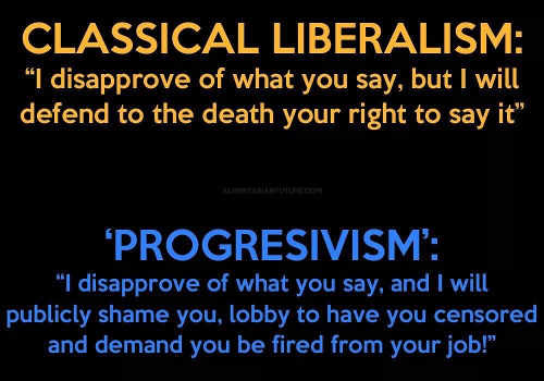 classive liberalism vs progressivism on free speech