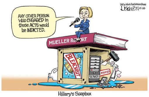 hillary clinton soapbox preaching trump obstruction bleach bit emails server