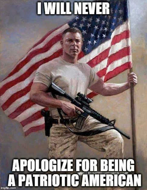 i will never apologize for being a patriotic american