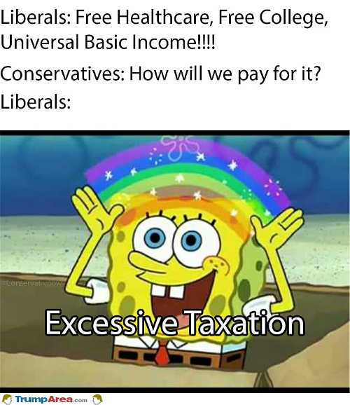 liberals free college health care universal income how to pay excessive taxation