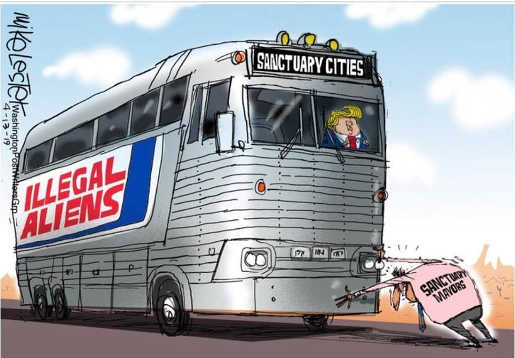 sanctuary majors stopping bus trump driving illegal aliens